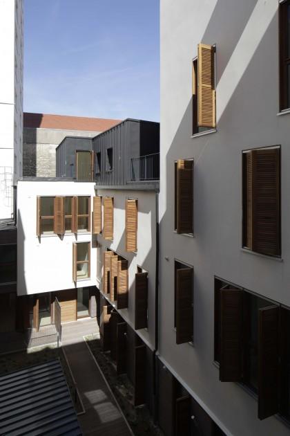 LOEIZ CARADEC ET FRANCOISE RISTERUCCI ARCHITECTES. SARL ARCHITECTURE ET URBANISME. 6 IMPASSE DE MONT-LOUIS. 75011 PARIS. HABITAT. 13 LOGEMENTS ET UN LOCAL D'ACTIVITE. 60 RUE RIQUET 75019 PARIS.